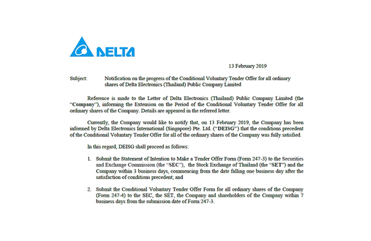 Delta Electronics (Thailand) PCL Receives Official Tender Offer From Delta Electronics Int'l (Singapore) Pte. Ltd