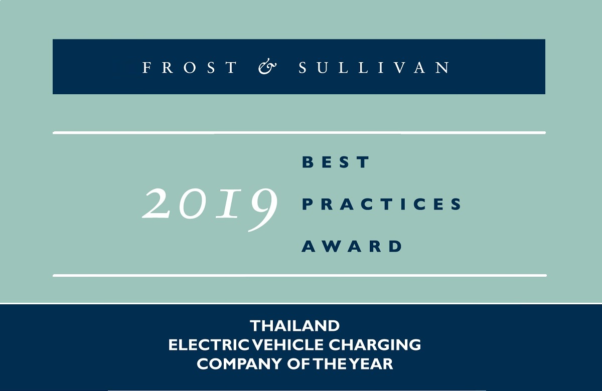 2019 Thailand Electric Vehicle Charging Company of the Year Award by Frost & Sullivan